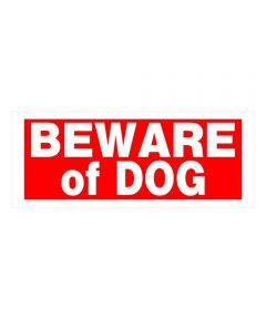 Red Rectangular Beware of Dog Sign 6 in. x 15 in.