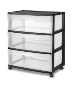Sterilite 15-1/4 in. x 21-7/8 in. x 24 in. Clear & Black Wide 3 Drawer Cart