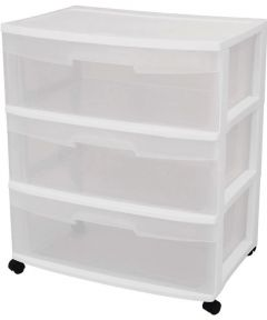 Sterilite 3 Drawer White Wide Storage Drawer Cart