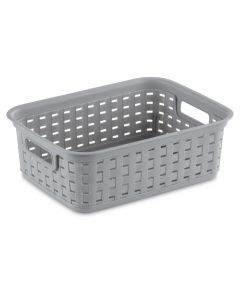 Sterilite 11-1/2 in. x 8-3/4 in. x 4 in. Small Cement Weave Basket