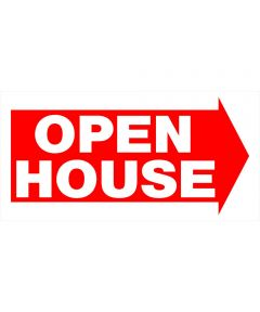 Plastic Open House Red and White Sign 12 in. x 24 in.
