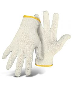 Ladies White String Knit Reversible Gloves