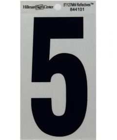 5 in. Black and Silver Reflective Adhesive Number 5