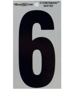 5 in. Black and Silver Reflective Adhesive Number 6