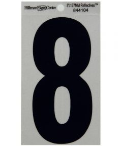 5 in. Black and Silver Reflective Adhesive Number 8