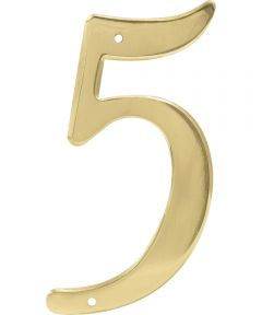 4 in. Nail-On Brass House Number 5 in.
