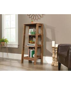Trestle 3-Shelf Bookcase, Oak Finish
