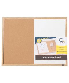 17 in. x 23 in. Wood Finish Combination Dry Erase & Bulletin Board