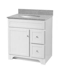 30 in. Bathroom Vanity with Solid Wood Drawers, White (Top Not Inluded)