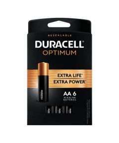 Duracell Optimum AA 1.5V Alkaline Batteries, 6 Pack