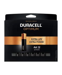 Duracell Optimum AA 1.5V Alkaline Batteries, 12 Pack