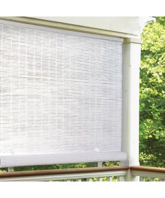 Radiance 96 in. W x 72 in. L Cordless Manual Rollup Outdoor 1/4 in. PVC Sun Shade, White