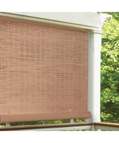 Radiance 96 in. W x 72 in. L Cordless Manual Rollup Outdoor 1/4 in. PVC Sun Shade, Woodgrain