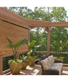 Radiance 48 in. W x 72 in. L Cordless Manual Rollup Outdoor Imperial Matchstick Bamboo Sun Shade, Fruitwood