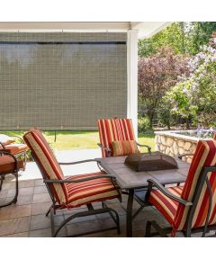 Radiance 72 in. W x 72 in. L Cordless Manual Rollup Outdoor Imperial Matchstick Bamboo Sun Shade, Driftwood