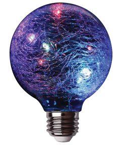 Feit LED Fairy Light Crackle Glass RGB Globe Bulb, E26 Standard Medium Base
