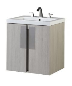 24 in. W x 18 in. D Single Sink Wall Mount Bathroom Vanity, Gray Pine