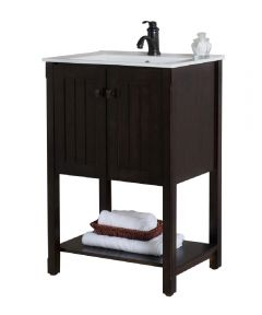 24 in. W x 18 in D Single Sink Bathroom Vanity, Sable Walnut