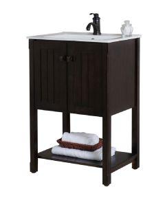 24 in. W x 18 in D Single Sink Bathroom Vanity, Sable Walnut