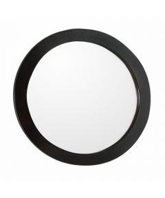 22 in. Round Framed Bathroom Mirror, Sable Walnut