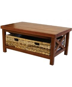 Alii Coffee Table with Baskets, Koa Finish