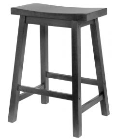 24 in. Black Saddle Seat Bar Stool