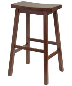 15.8 in. x 28.9 in. x 17.91 in. Walnut Saddle Seat Bar Stool