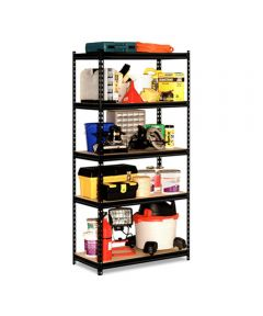 5 Shelf 18 Gauge Steel Rack, 36 in. x 72 in. x 18 in., Black Finish