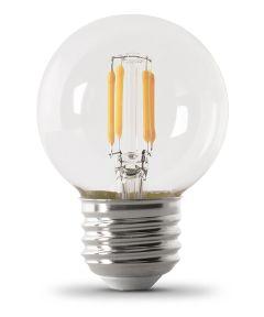 Feit Electric 3.8 Watt E26 G16-1/2 Clear 2700K Soft White LED Dimmable Light Bulbs, 2 Pack