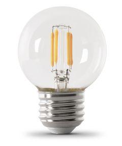 Feit Electric 5.5 Watt E26 G16-1/2 Clear 2700K Soft White LED Dimmable Light Bulbs, 2 Pack