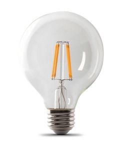 Feit Electric 5.5 Watt E26 G25 Clear 5000K Daylight LED Dimmable Light Bulbs, 3 Pack