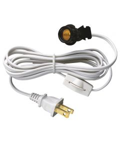 Westinghouse 6 ft. Cord Set with Snap-In Pigtail Socket & Cord Switch, White