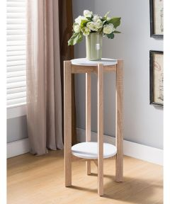 32 in. Tall Round Plant Stand with Bottom Shelf, White & Natural