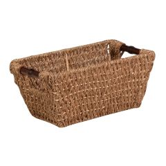 14 in. x 8 in. x 6 in. Seagrass Storage Basket with Handles, Small