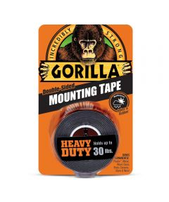 Gorilla Black Heavy Duty Double Sided Mounting Tape, 1 in. x 60 in., Up to 30 lbs.