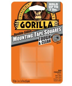 Gorilla Tough & Clear Double Sided Mounting Tape, 1 in. x 1 in. Pre-Cut Squares, 24 Pack, Up to 7 lbs.