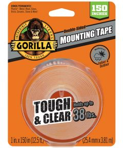 Gorilla Tough & Clear Double Sided Mounting Tape, 1 in. x 150 in., Up to 38 lbs.