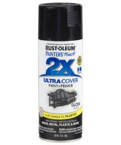 Painter's Touch 2X Ultra Cover Gloss Spray , 12 oz Spray Paint, Gloss Black