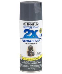 Painter's Touch 2X Ultra Cover Gloss Spray , 12 oz Spray Paint, Gloss Dark Gray