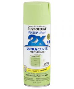 Painter's Touch 2X Ultra Cover Satin Spray, 12 oz Spray Paint, Satin Green Apple