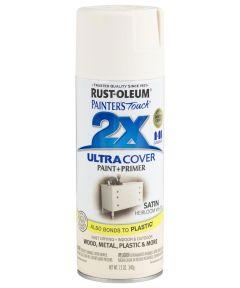 Painter's Touch 2X Ultra Cover Satin Spray, 12 oz Spray Paint, Satin Heirloom White