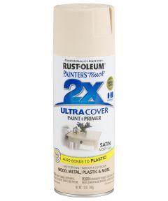 Painter's Touch 2X Ultra Cover Satin Spray, 12 oz Spray Paint, Satin Ivory Silk