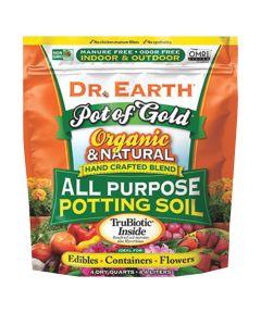 Dr. Earth Organic & Natural Pot of Gold All Purpose Potting Soil, 4 quarts