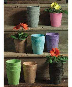 5 in. Resin Cache Pot Planter, Gray