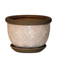 Trendspot 8 in. Ceramic Medallion Planter, Tan