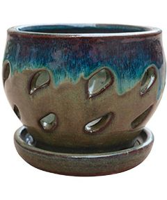 Trendspot 5 in. Ceramic Orchid Pot, Blue/Green