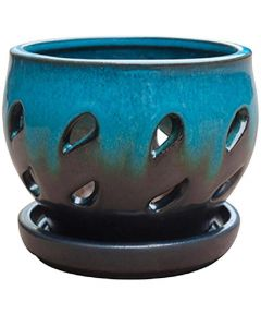 Trendspot 5 in. Ceramic Orchid Pot, Aqua