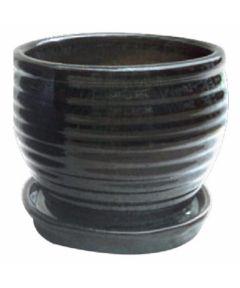 Trendspot 9 in. Honey Jar Glazed Ceramic Planter, Dark Green