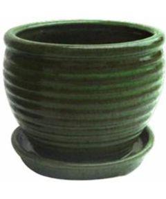 Trendspot 9 in. Honey Jar Glazed Ceramic Planter, Green