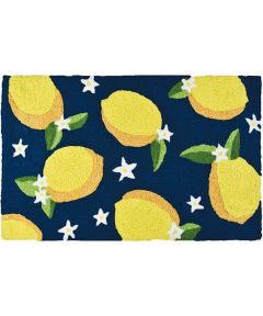 Jellybean 20 in. x 30 in. Lemons and Flowers on Navy Indoor & Outdoor Accent Rug
